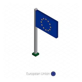 European union flag on flagpole in isometric dimension. isometric blue background. vector illustration.
