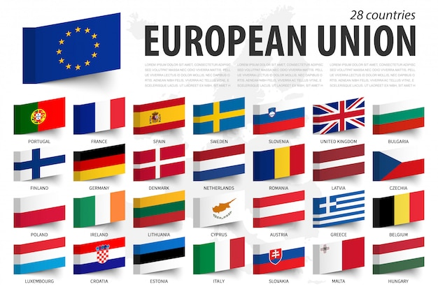 European union flag and member . sticky note design . europe map