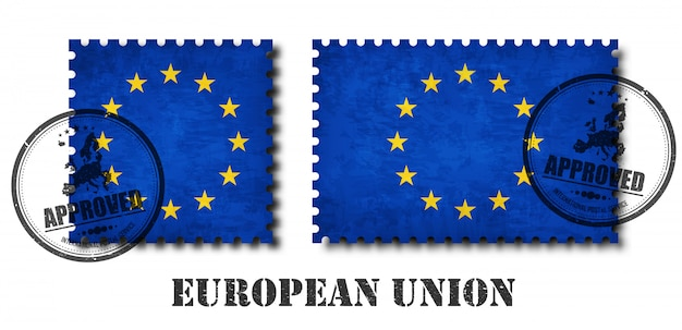 European union flag pattern postage stamp
