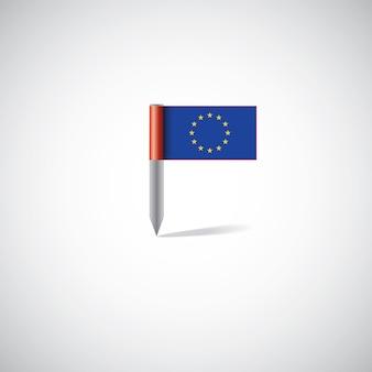 유럽 연합 플래그 핀, 흰색 배경에 고립