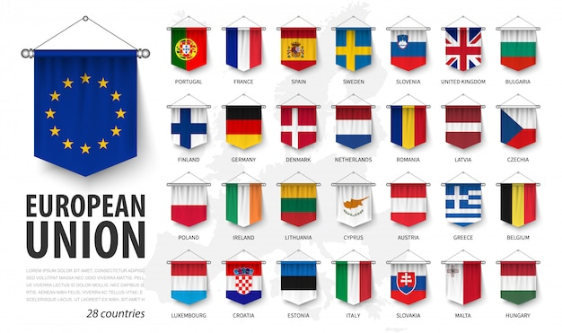 European union flags and membership . 3d realistic pennant hanging