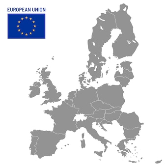 European union map. eu member countries, europe country location travel maps illustration