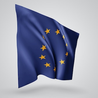 European union, vector flag with waves and bends waving in the wind on a white background.
