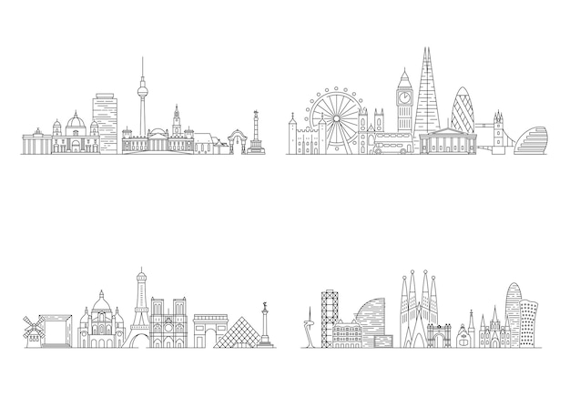Europian cities skylines. line art illustration