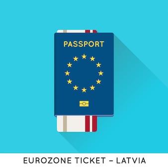 Eurozone europe passport with tickets