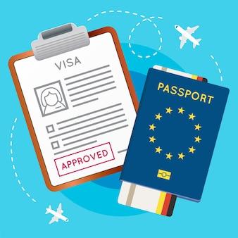 Штамп на документе, одобренный для получения визы в еврозону. паспорт с билетом на самолет. иммиграционный штамп путешествия. векторные иллюстрации.