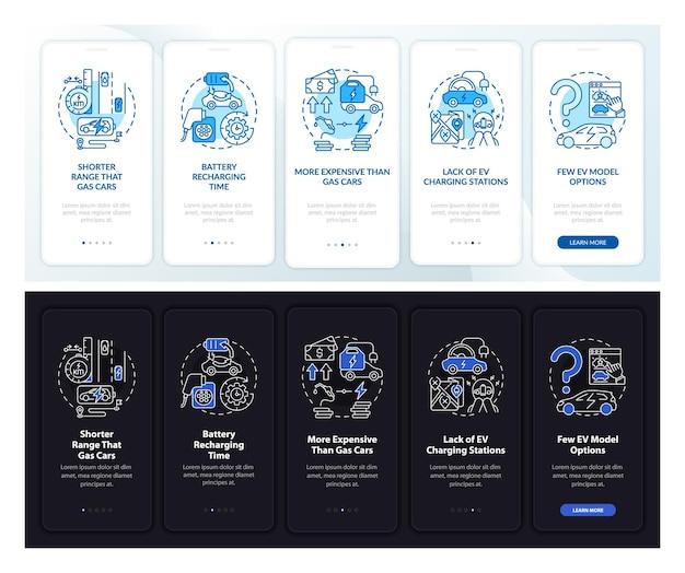 Ev 불량 온보딩 모바일 앱 페이지 화면. 전기 자동차 비교 연습은 개념이 포함된 5단계 그래픽 지침입니다. 선형 주간, 야간 모드 일러스트레이션이 있는 ui, ux, gui 벡터 템플릿