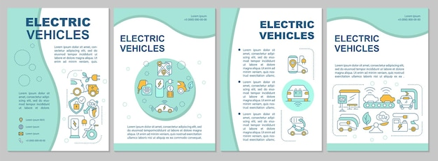 Ev base propositions brochure template. flyer, booklet, leaflet print, cover design with linear icons. eco-friendly style. vector layouts for presentation, annual reports, advertisement pages
