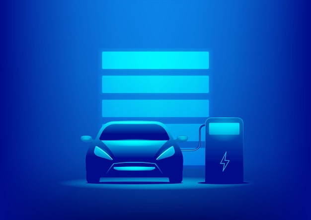 Ev car or electric charging at the charger station with the power cable supply plugged in on blue background.
