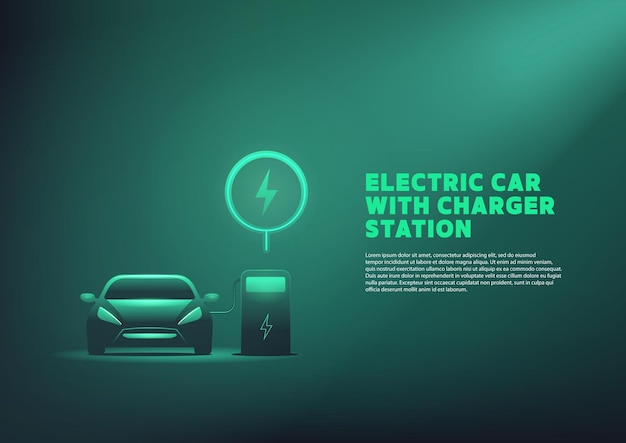 Ev car or electric charging at the charger station with the power cable supply plugged in.