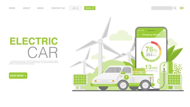 충전소 방문 페이지에서 ev 자동차 또는 전기 자동차 premium vector