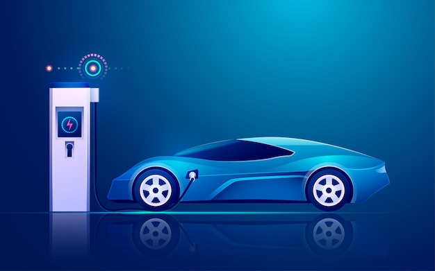 Ev charger station with electric vehicle in modern technology industries
