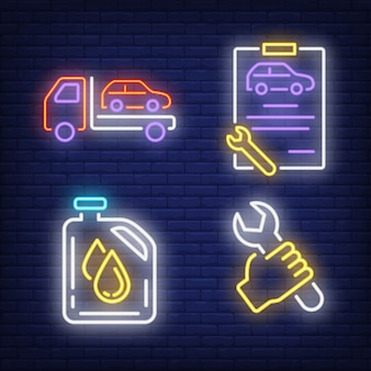 Evacuating car, wrench, clipboard and oil canister neon signs set