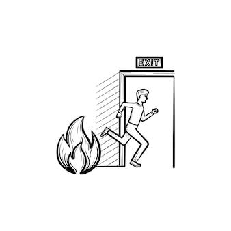Эвакуационный выход рисованной наброски каракули значок. человек убегает от огня через эвакуационный выход векторную иллюстрацию эскиза для печати, интернета, мобильных устройств и инфографики, изолированных на белом фоне.