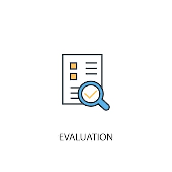 Evaluation concept 2 colored line icon. simple yellow and blue element illustration. evaluation concept outline symbol design