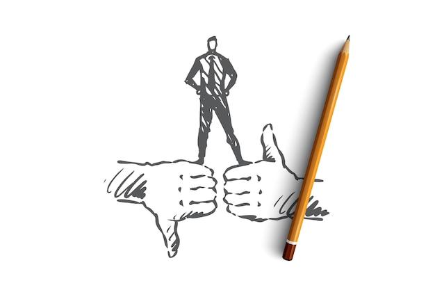 評価、顧客、フィードバック、品質コンセプト。手描きのようなシンボルと嫌いなシンボルのコンセプトスケッチ。