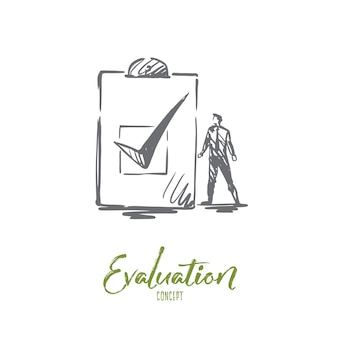 Evaluation illustration in hand drawn