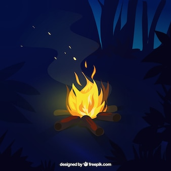 Evening background with bonfire