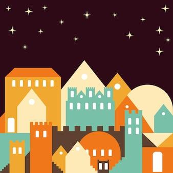 夜の街。抽象的なカードの背景。コーヒーのテーマカラー。