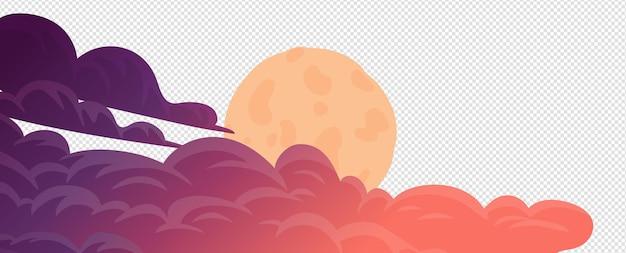 夕方の雲と満月