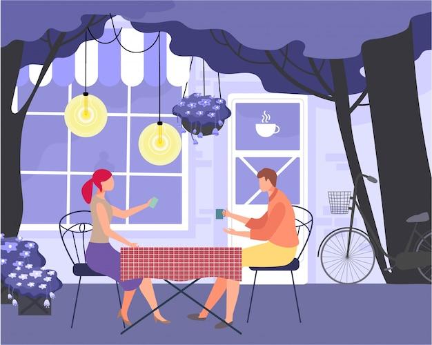 素敵な素敵なカップルの夜のデート、キャラクター男性女性恋人ディナーチャットイラスト。ロマンチックなレストランのディナーの夜。