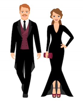 Evening fashion outfit people. man in black tux and lady in long black dress. vector illustration