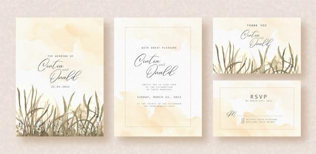 結婚式の招待状に水彩の夜の花の風景
