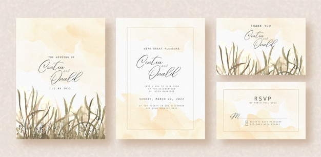Evening floral landscape watercolor on wedding invitation