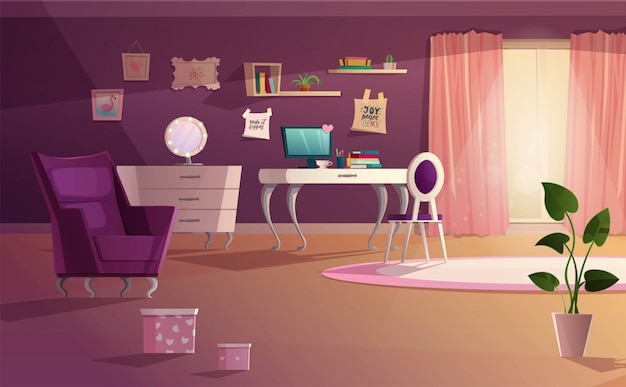 Evening girl room interior in pink and violet colors.