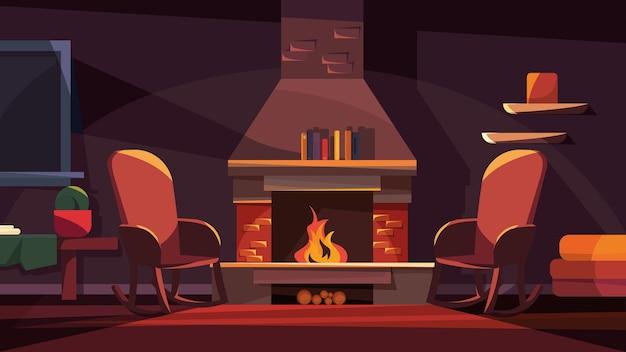 暖炉のある夜のインテリア。漫画風の居心地の良い場所。
