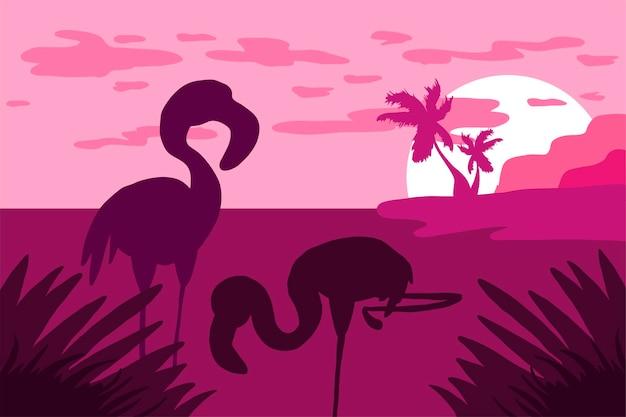 Evening landscape with flamingo silhouette flat illustration. wildlife nature minimalistic background