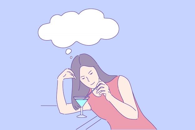 Evening leisure night club rest alone bar recreation concept