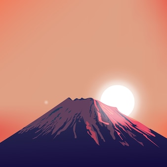 Evening mountain vector art