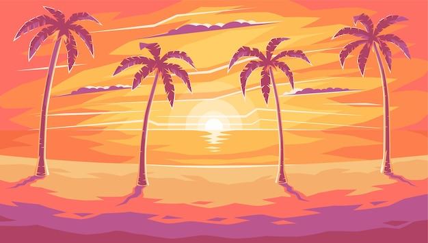 Вечер на пляже с пальмами