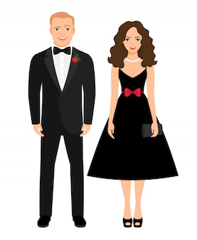 Evening outfit for special occasion. beautiful couple in black dress and tux. vector illustration