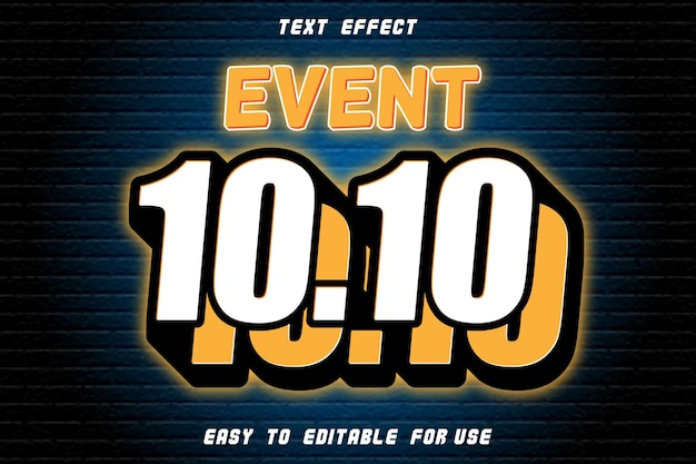 Event 10.10 editable text effect emboss neon style