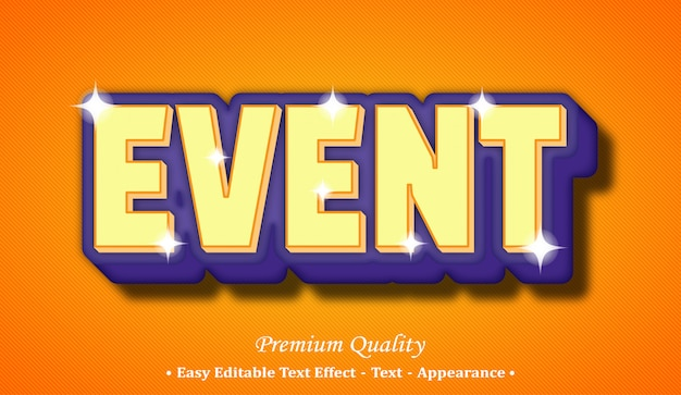 Event 3d editable text style effect
