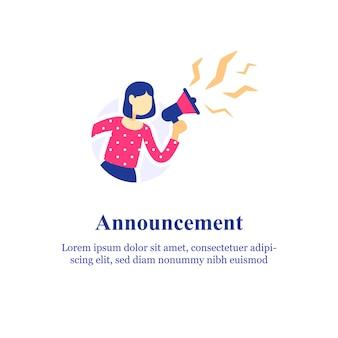 Объявление о событии, женщина, держащая мегафон и кричащая, кричащая в громкоговоритель, концепция специального предложения, направление друга, реклама и маркетинг