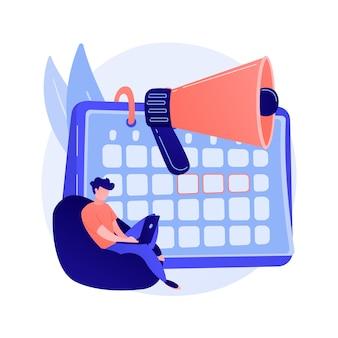 Notifica del calendario degli eventi. progetto di libero professionista, data di scadenza, promemoria dell'appuntamento. elemento di design isolato calendario e megafono. illustrazione di concetto di gestione del tempo