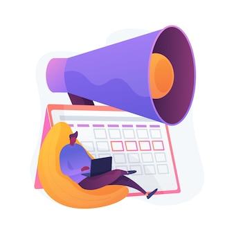 Notifica del calendario degli eventi. progetto di libero professionista, data di scadenza, promemoria dell'appuntamento. elemento di design isolato calendario e megafono. gestione del tempo.