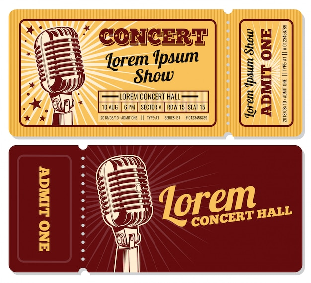 Event or concert ticket admission entry isolated template