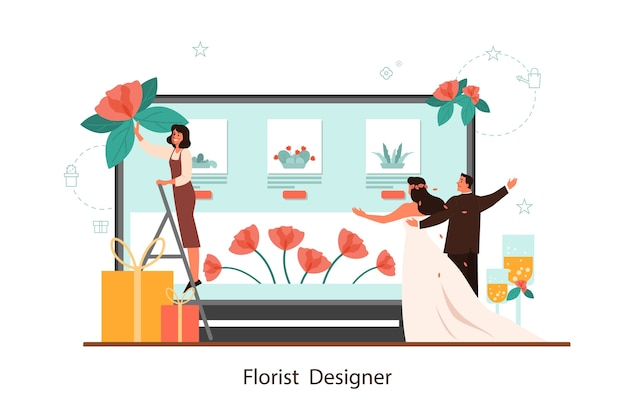 Event florist er online service. florists decorating wedding with roses. creative occupation, floristic business.