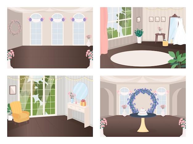 Набор плоских цветных иллюстраций залов для мероприятий