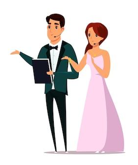 이벤트 호스트 백인 남자와 여자 명품 옷을 입고 캐릭터