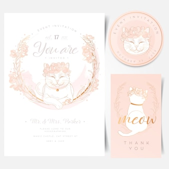 Event invitation card with cute white cat logo
