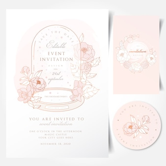 Event invitation card with vintage glass dome tabletop cloche bell jar