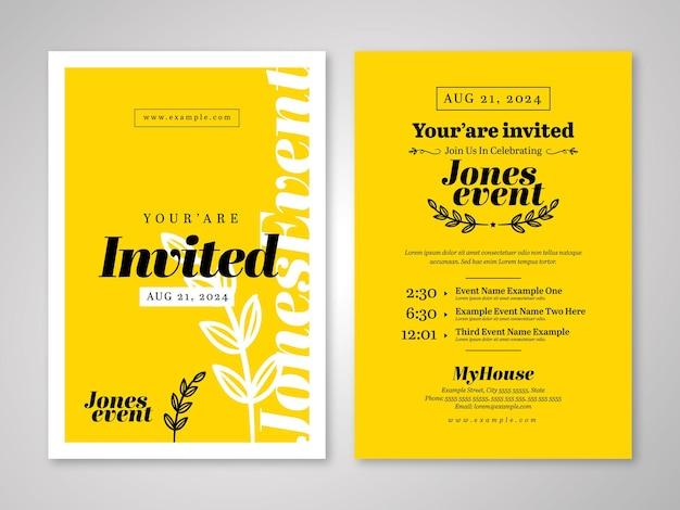 Event invitation postcard with yellow black
