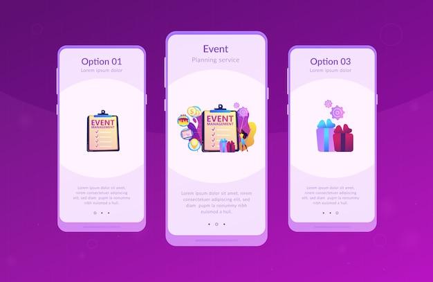 Event management app interface template.