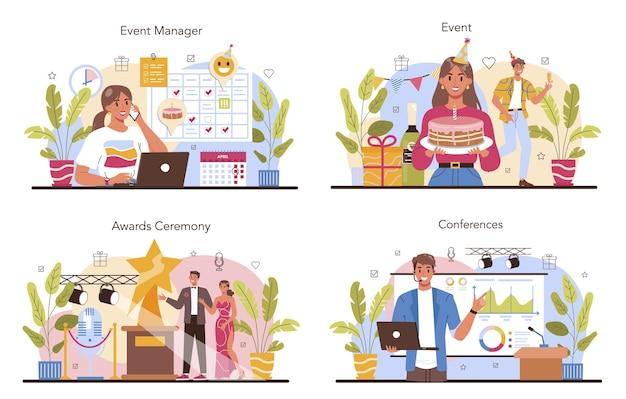 Набор концепции управления событиями. праздник, церемония или корпоратив