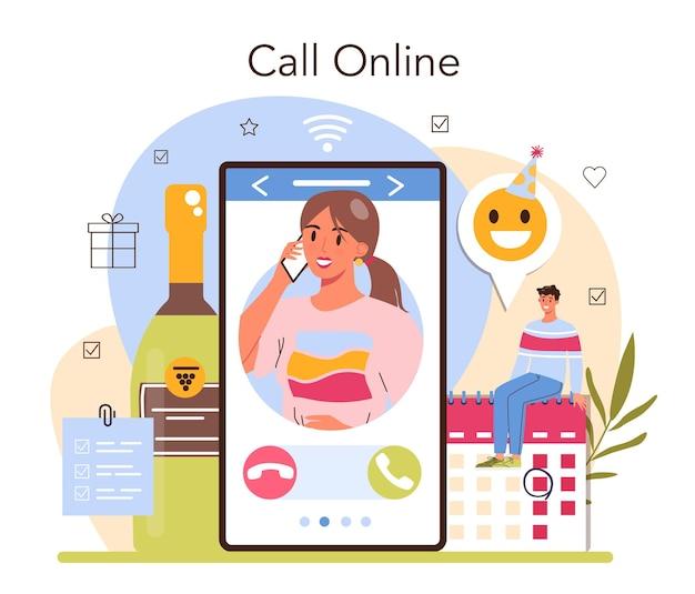 Онлайн-сервис или платформа для управления событиями. организация праздника, церемонии или корпоративной встречи. планирование бизнес-конференций. онлайн-звонок. векторная иллюстрация
